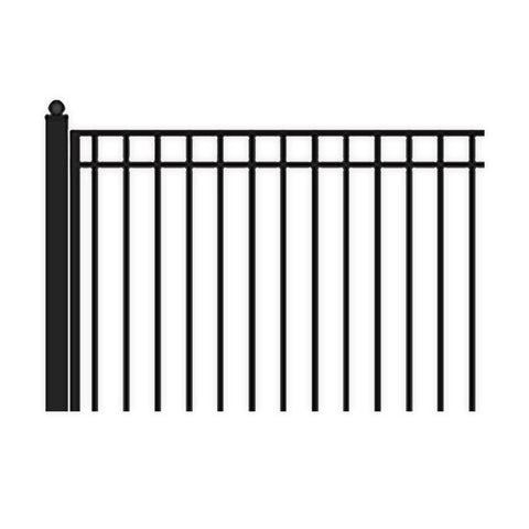 ALEKO Gates and Fences Black ALEKO Products Steel Dual Swing Driveway Gate - MADRID Style - 16 ft with Pedestrian Gate - 5 ft SET16X4MADD-AP