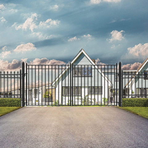 Image of ALEKO Gates and Fences Black ALEKO Products Steel Dual Swing Driveway Gate - MADRID Style - 16 x 6 Feet DG16MADD-AP