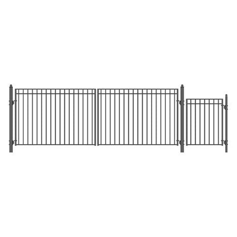 ALEKO Gates and Fences Black ALEKO Products Steel Dual Swing Driveway Gate - MADRID Style - 18 ft with Pedestrian Gate - 5 ft SET18X4MADD-AP