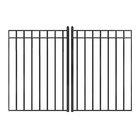 ALEKO Gates and Fences Black ALEKO Products Steel Dual Swing Driveway Gate - MADRID Style - 18 x 6 Feet DG18MADD-AP