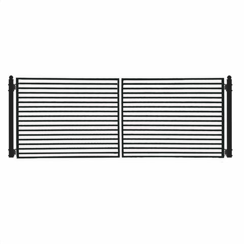 Image of ALEKO Gates and Fences Black ALEKO Products Steel Dual Swing Driveway Gate - MILAN Style - 14 x 6 Feet DG14MILD-AP