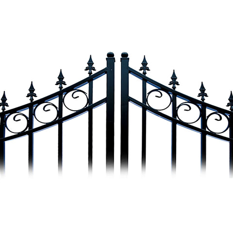 Image of ALEKO Gates and Fences Black ALEKO Products Steel Dual Swing Driveway Gate - MOSCOW Style - 12 ft with Pedestrian Gate - 5 ft SET12X4MOSD-AP