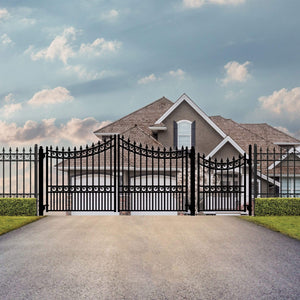 ALEKO Gates and Fences Black ALEKO Products Steel Dual Swing Driveway Gate - MOSCOW Style - 12 ft with Pedestrian Gate - 5 ft SET12X4MOSD-AP
