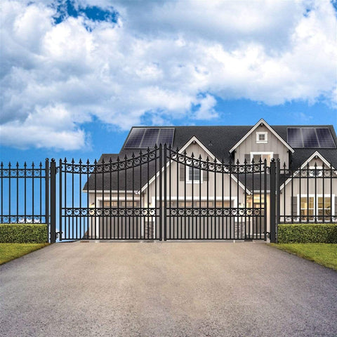 ALEKO Gates and Fences Black ALEKO Products Steel Dual Swing Driveway Gate - MOSCOW Style - 12 x 6 Feet DG12MOSD-AP