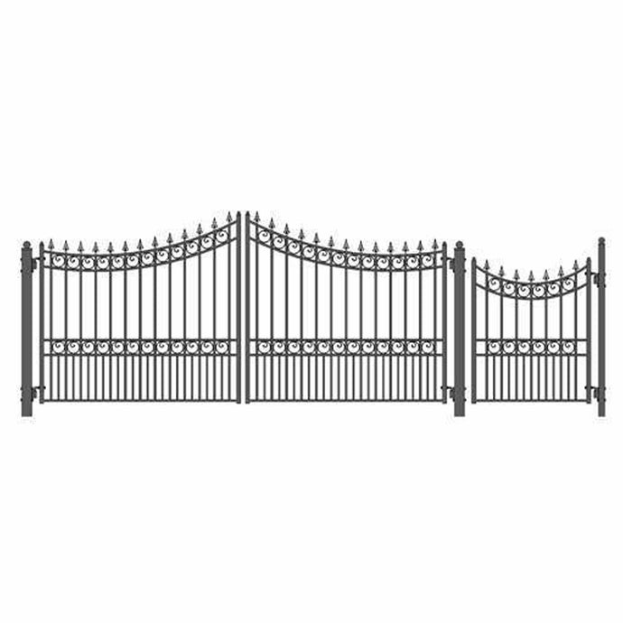 ALEKO Gates and Fences Black ALEKO Products Steel Dual Swing Driveway Gate - MOSCOW Style - 14 ft with Pedestrian Gate - 5 ft SET14X4MOSD-AP