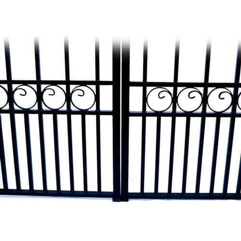 Image of ALEKO Gates and Fences Black ALEKO Products Steel Dual Swing Driveway Gate - MOSCOW Style - 16 x 6 Feet DG16MOSD-AP