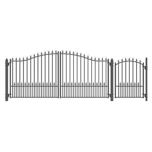 ALEKO Gates and Fences Black ALEKO Products Steel Dual Swing Driveway Gate - MUNICH Style - 14 ft with Pedestrian Gate - 5 ft SET14X4MUND-AP