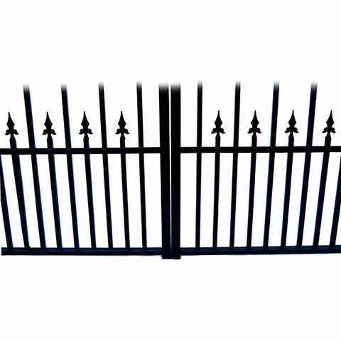 ALEKO Gates and Fences Black ALEKO Products Steel Dual Swing Driveway Gate - MUNICH Style - 16 ft with Pedestrian Gate - 5 ft SET16X4MUND-AP