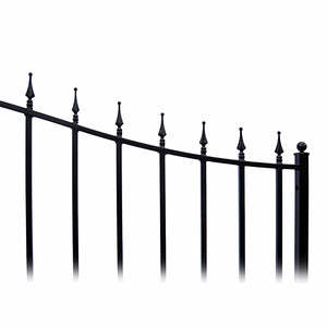ALEKO Gates and Fences Black ALEKO Products Steel Dual Swing Driveway Gate - MUNICH Style - 18 ft with Pedestrian Gate - 5 ft SET18X4MUND-AP