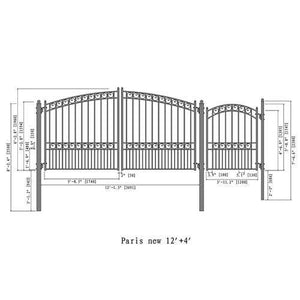 ALEKO Gates and Fences Black ALEKO Products Steel Dual Swing Driveway Gate - PARIS Style - 12 ft with Pedestrian Gate - 5 ft SET12X4PARD-AP