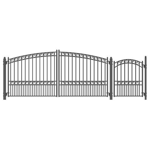 ALEKO Gates and Fences Black ALEKO Products Steel Dual Swing Driveway Gate - PARIS Style - 14 ft with Pedestrian Gate - 5 ft SET14X4PARD-AP