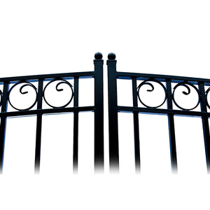 ALEKO Gates and Fences Black ALEKO Products Steel Dual Swing Driveway Gate - PARIS Style - 16 ft with Pedestrian Gate - 5 ft SET16X4PARD-AP