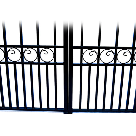 Image of ALEKO Gates and Fences Black ALEKO Products Steel Dual Swing Driveway Gate - PARIS Style - 16 ft with Pedestrian Gate - 5 ft SET16X4PARD-AP