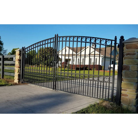ALEKO Gates and Fences Black ALEKO Products Steel Dual Swing Driveway Gate - PARIS Style - 18 x 6 Feet DG18PARD-AP