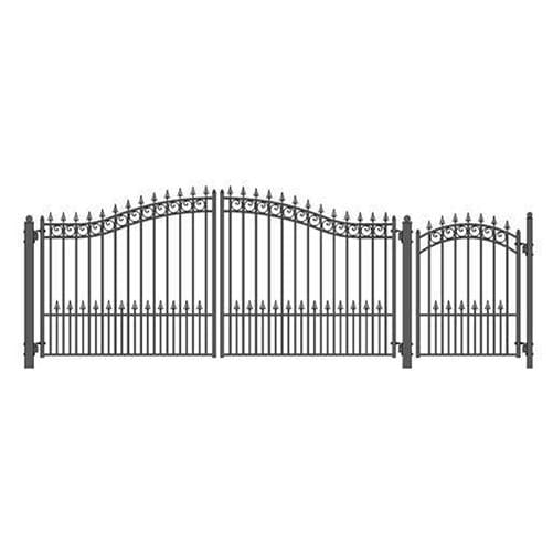 ALEKO Gates and Fences Black ALEKO Products Steel Dual Swing Driveway Gate - PRAGUE Style - 14 ft with Pedestrian Gate - 5 ft SET14X4PRAD-AP