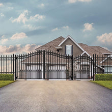 Load image into Gallery viewer, ALEKO Gates and Fences Black ALEKO Products Steel Dual Swing Driveway Gate - PRAGUE Style - 14 ft with Pedestrian Gate - 5 ft SET14X4PRAD-AP