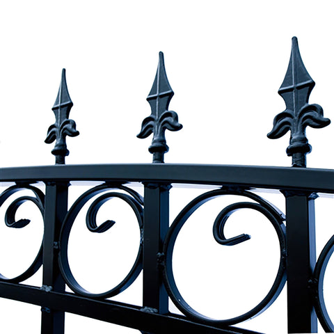Image of ALEKO Gates and Fences Black ALEKO Products Steel Dual Swing Driveway Gate - PRAGUE Style - 14 ft with Pedestrian Gate - 5 ft SET14X4PRAD-AP
