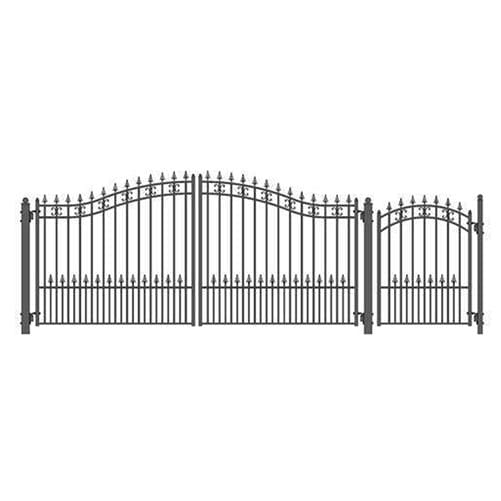 ALEKO Gates and Fences Black ALEKO Products Steel Dual Swing Driveway Gate - ST. PETERSBURG Style - 14 ft with Pedestrian Gate - 5 ft SET14X4STPD-AP