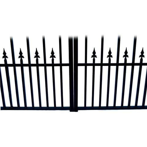 Image of ALEKO Gates and Fences Black ALEKO Products Steel Dual Swing Driveway Gate - ST.PETERSBURG Style - 16 x 6 Feet DG16STPD-AP