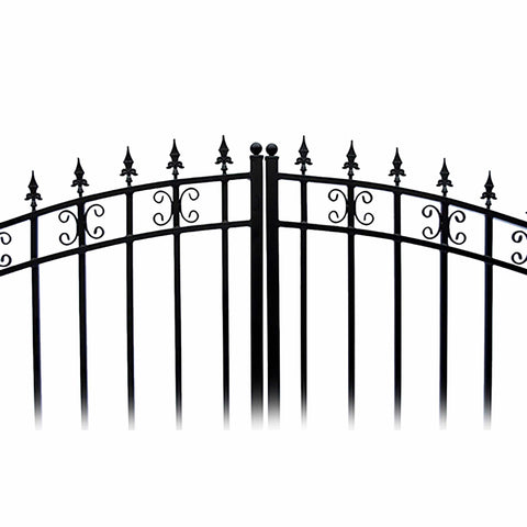 ALEKO Gates and Fences Black ALEKO Products Steel Dual Swing Driveway Gate - ST. PETERSBURG Style - 18 ft with Pedestrian Gate - 5 ft SET18X4STPD-AP