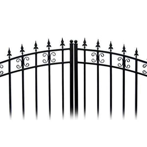 ALEKO Gates and Fences Black ALEKO Products Steel Dual Swing Driveway Gate - ST.PETERSBURG Style - 18 x 6 Feet DG18STPD-AP