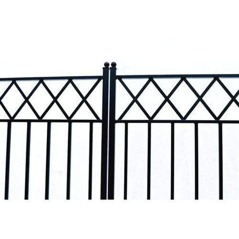 Image of ALEKO Gates and Fences Black ALEKO Products Steel Dual Swing Driveway Gate - STOCKHOLM Style - 16 x 6 Feet DG16STOD-AP