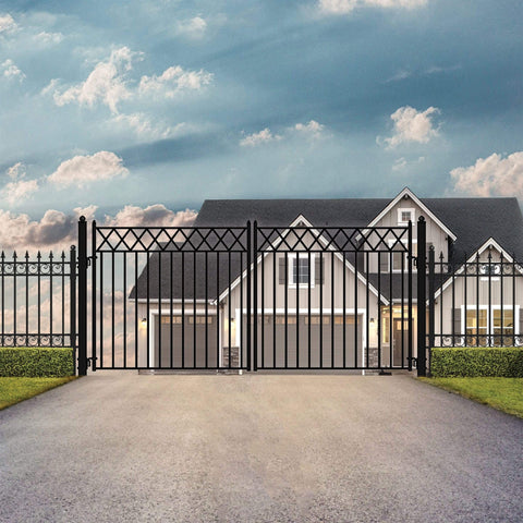 ALEKO Gates and Fences Black ALEKO Products Steel Dual Swing Driveway Gate - STOCKHOLM Style - 18 x 6 Feet DG18STOD-AP