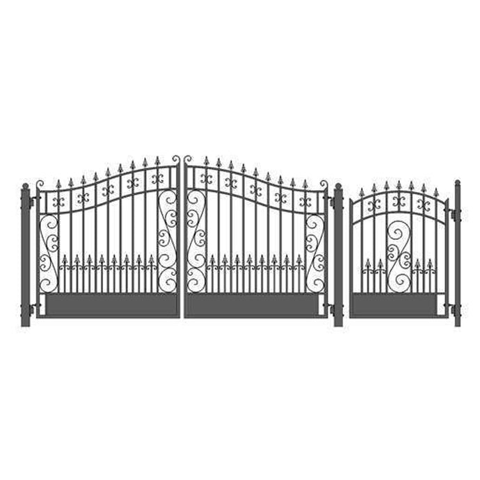 ALEKO Gates and Fences Black ALEKO Products Steel Dual Swing Driveway Gate - VENICE Style - 12 ft with Pedestrian Gate - 5 ft SET12X4VEND-AP