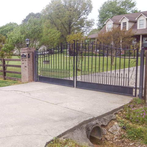 ALEKO Gates and Fences Black ALEKO Products Steel Dual Swing Driveway Gate - VENICE Style - 12 x 6 Feet DG12VEND-AP