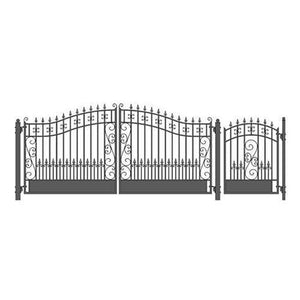 ALEKO Gates and Fences Black ALEKO Products Steel Dual Swing Driveway Gate - VENICE Style - 14 ft with Pedestrian Gate - 5 ft SET14X4VEND-AP