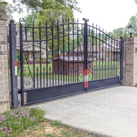 ALEKO Gates and Fences Black ALEKO Products Steel Dual Swing Driveway Gate - VENICE Style - 14 x 6 Feet DG14VEND-AP