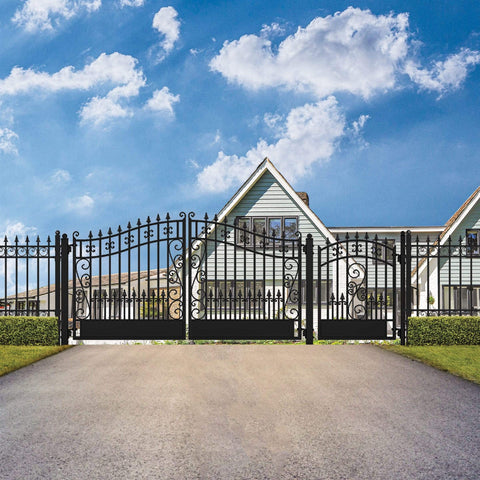ALEKO Gates and Fences Black ALEKO Products Steel Dual Swing Driveway Gate - VENICE Style - 16 ft with Pedestrian Gate - 5 ft SET16X4VEND-AP