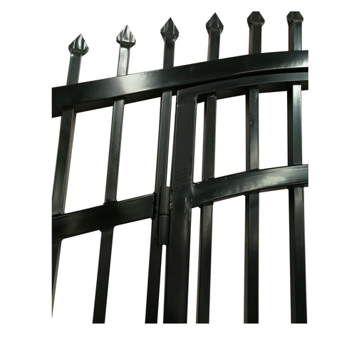 ALEKO Gates and Fences Black ALEKO Products Steel Dual Swing Driveway Gate with Built-In Pedestrian Door - VIENNA Style - 12 x 7 Feet DGP12VIENNA-AP