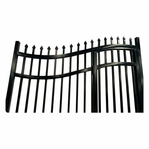 Image of ALEKO Gates and Fences Black ALEKO Products Steel Dual Swing Driveway Gate - with Built-In Pedestrian Door - VIENNA Style - 14 x 7 Feet DGP14VIENNA-AP