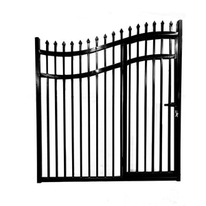 ALEKO Gates and Fences Black ALEKO Products Steel Dual Swing Driveway Gate - with Built-In Pedestrian Door - VIENNA Style - 14 x 7 Feet DGP14VIENNA-AP
