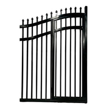 Load image into Gallery viewer, ALEKO Gates and Fences Black ALEKO Products Steel Dual Swing Driveway Gate with Built-In Pedestrian Door - VIENNA Style - 16 x 7 Feet DGP16VIENNA-AP