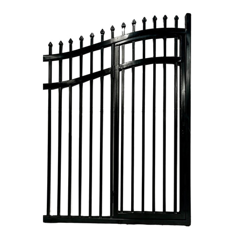 ALEKO Gates and Fences Black ALEKO Products Steel Dual Swing Driveway Gate with Built-In Pedestrian Door - VIENNA Style - 16 x 7 Feet DGP16VIENNA-AP