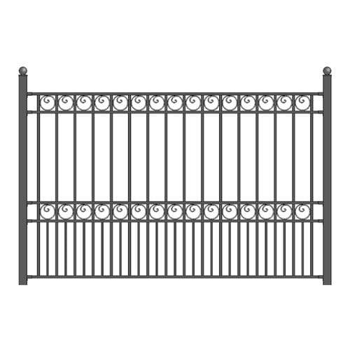 ALEKO Gates and Fences Black ALEKO Products Steel Fence - PARIS Style - 8 x 5 Ft FENCEPAR-AP