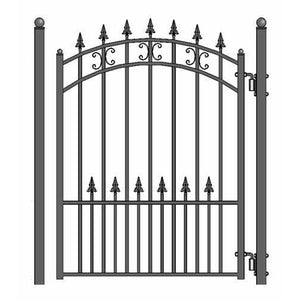 ALEKO Gates and Fences Black ALEKO Products Steel Pedestrian Gate - ST.PETERSBURG Style - 5 ft PGSTP-AP