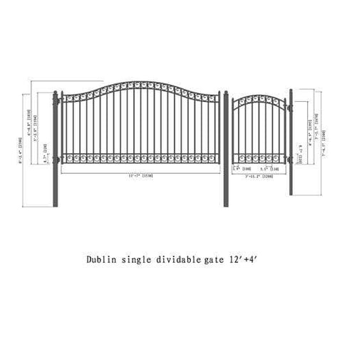 ALEKO Gates and Fences Black ALEKO Products Steel Single Swing Driveway Gate - DUBLIN Style - 12 ft with Pedestrian Gate - 5 ft SET12X4DUBS-AP