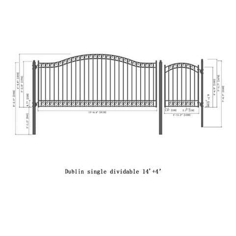 ALEKO Gates and Fences Black ALEKO Products Steel Single Swing Driveway Gate - DUBLIN Style - 14 ft with Pedestrian Gate - 5 ft SET14X4DUBS-AP