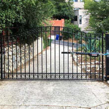 Load image into Gallery viewer, ALEKO Gates and Fences Black ALEKO Products Steel Single Swing Driveway Gate - DUBLIN Style - 14 x 6 Feet DG14DUBSSW-AP