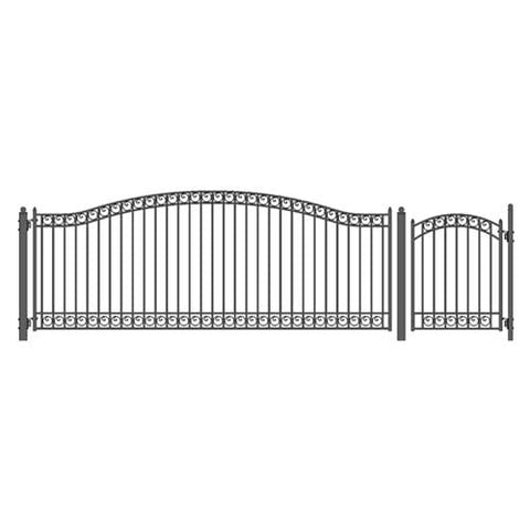 ALEKO Gates and Fences Black ALEKO Products Steel Single Swing Driveway Gate - DUBLIN Style - 16 ft with Pedestrian Gate - 5 ft SET16X4DUBS-AP