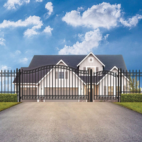 ALEKO Gates and Fences Black ALEKO Products Steel Single Swing Driveway Gate - DUBLIN Style - 18 ft with Pedestrian Gate - 5 ft SET18X4DUBS-AP