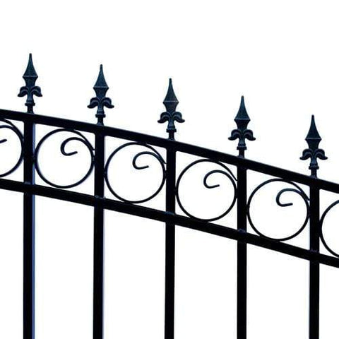 Image of ALEKO Gates and Fences Black ALEKO Products Steel Single Swing Driveway Gate - LONDON Style - 12 x 6 Feet DG12LONSSW-AP