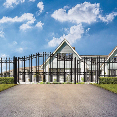 ALEKO Gates and Fences Black ALEKO Products Steel Single Swing Driveway Gate - LONDON Style - 14 ft with Pedestrian Gate - 5 ft SET14X4LONS-AP