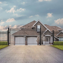 Load image into Gallery viewer, ALEKO Gates and Fences Black ALEKO Products Steel Single Swing Driveway Gate - MADRID Style - 14 ft with Pedestrian Gate - 5 ft SET14X4MADS-AP