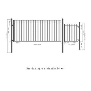 ALEKO Gates and Fences Black ALEKO Products Steel Single Swing Driveway Gate - MADRID Style - 14 ft with Pedestrian Gate - 5 ft SET14X4MADS-AP