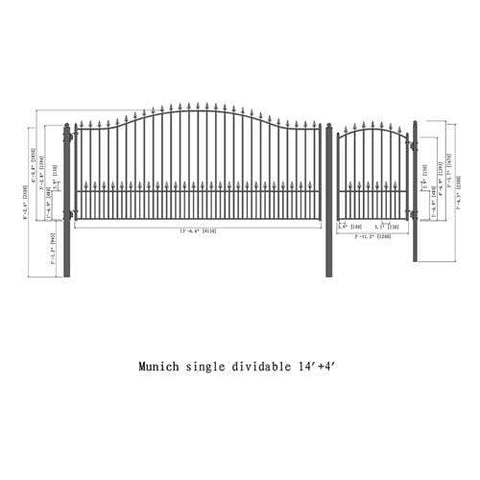 ALEKO Gates and Fences Black ALEKO Products Steel Single Swing Driveway Gate - MUNICH Style - 14 ft with Pedestrian Gate - 5 ft SET14X4MUNS-AP