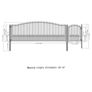 ALEKO Gates and Fences Black ALEKO Products Steel Single Swing Driveway Gate - MUNICH Style - 18 ft with Pedestrian Gate - 5 ft SET18X4MUNS-AP